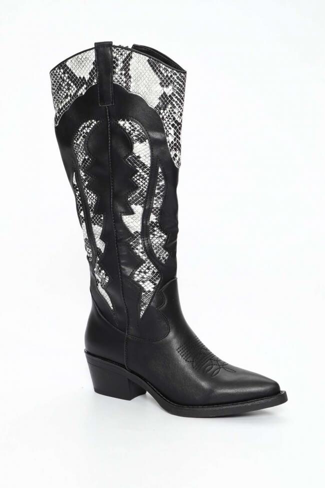 Cowboy Μπότες με Λεπτομέρεια Snake Print