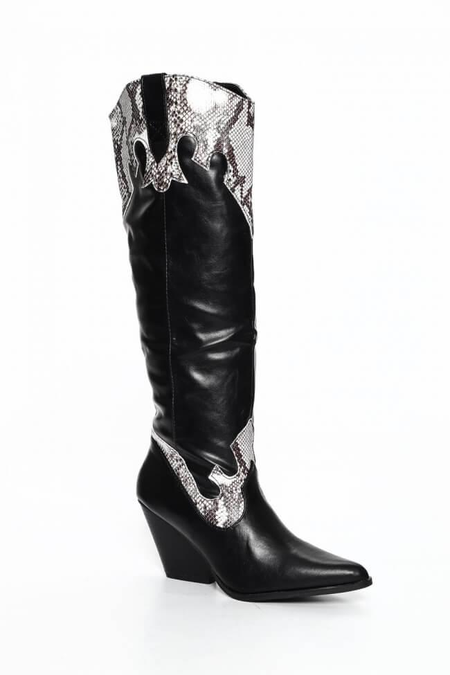 Cowboy Μπότες με Λεπτομέρεια Snake Printr