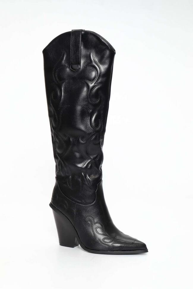 Cowboy Μπότες Μυτερές με Κέντημα