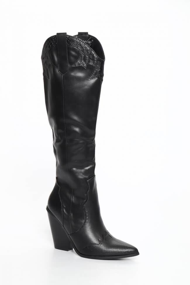 Cowboy Μπότες Μυτερές με Λεπτομέρεια Print