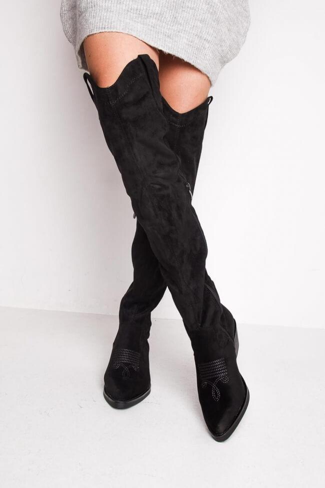 Cowboy Μπότες Over the Knee με Κέντημα