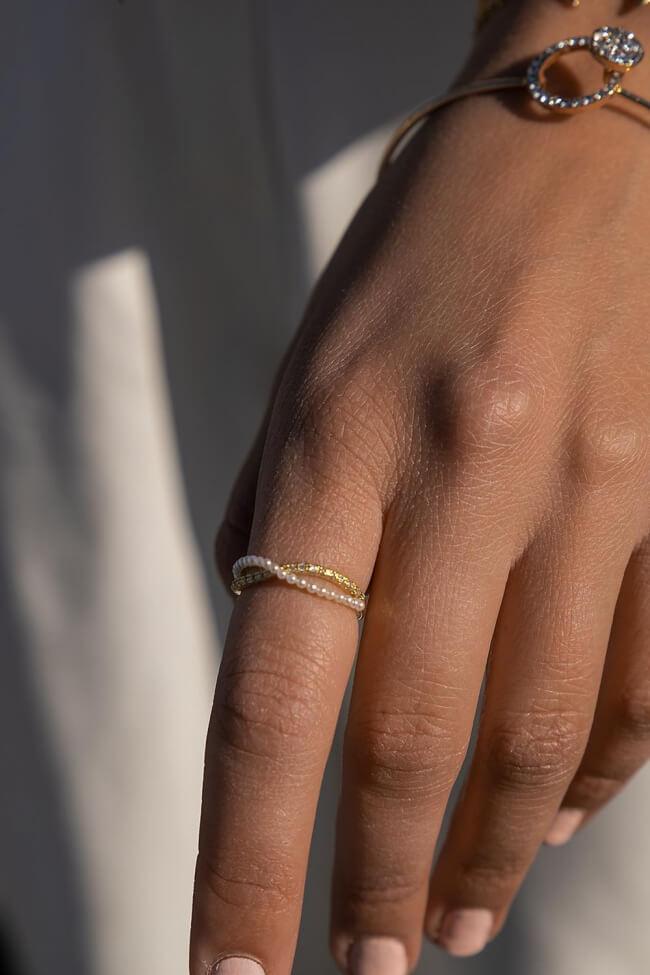 Δαχτυλίδι Χιαστί με Πέρλες