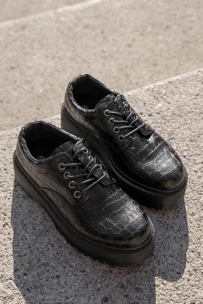 Δετά Παπούτσια Δίσολα - Μαύρο-Croco