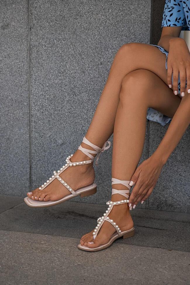 Flat Σανδάλια Lace Up με Πέρλες & Strass