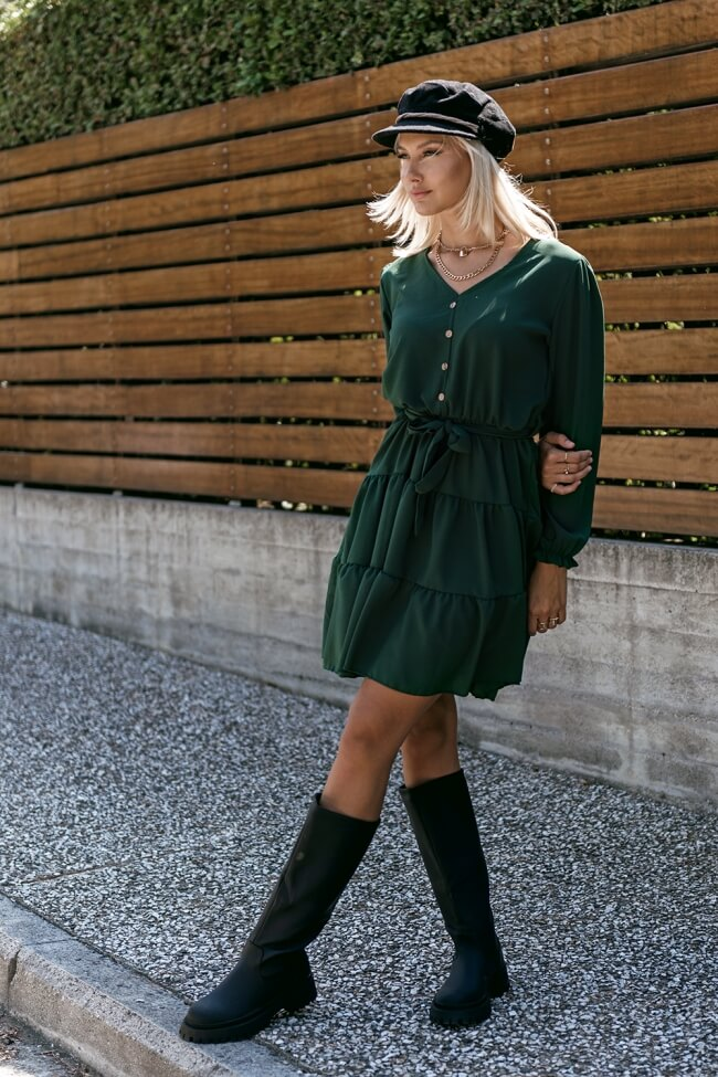 Φόρεμα A-Line με Κουμπάκια και Ζώνη