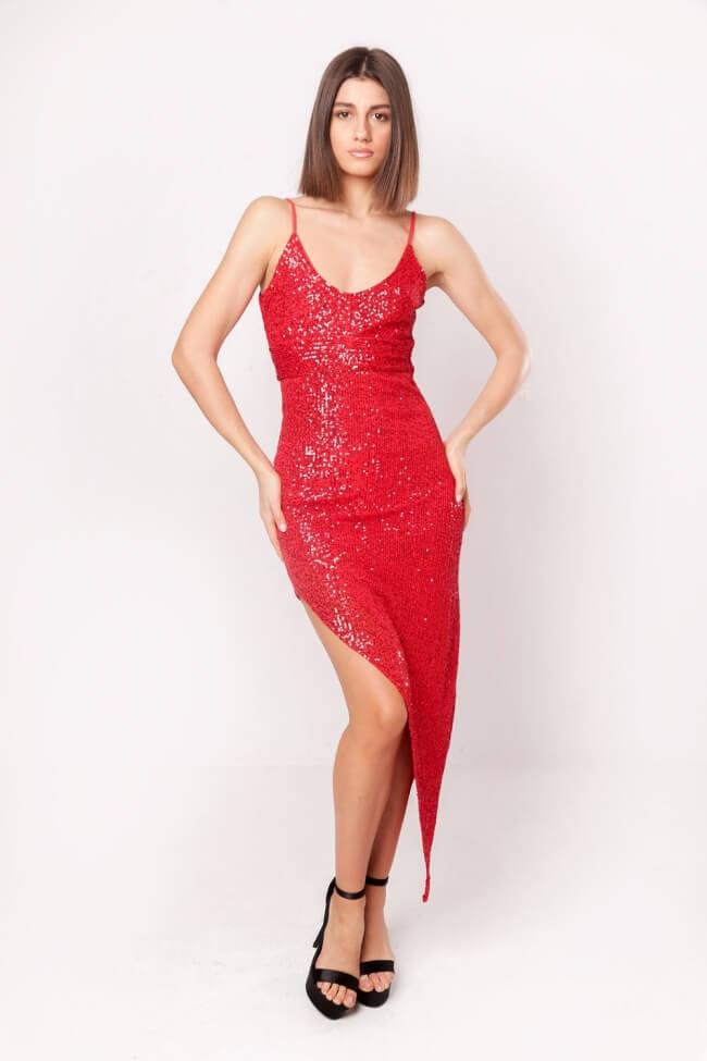 Φόρεμα Ασύμμετρο με Παγιέτες
