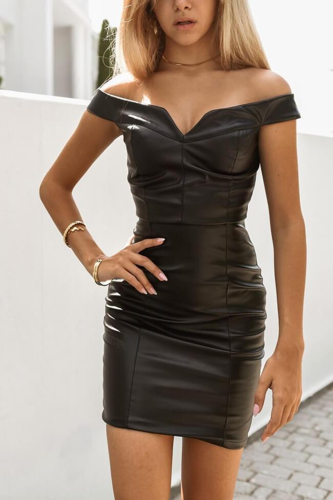 Φόρεμα Δερματίνη Off Shoulder