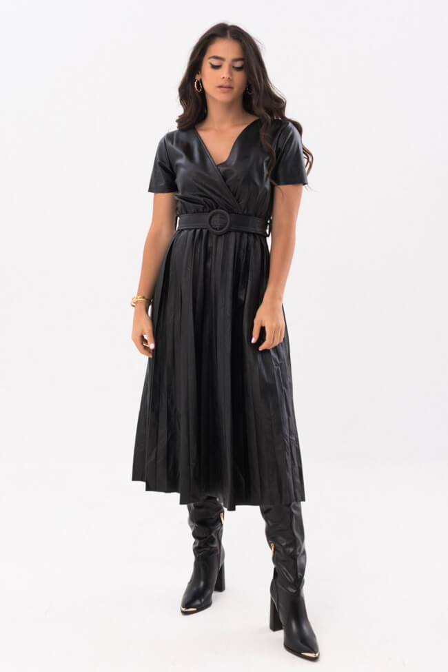 Φόρεμα Δερματίνη Πλισέ
