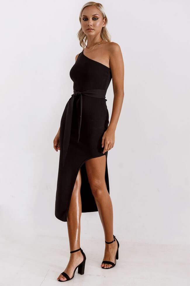 Φόρεμα Ελαστικό με Έναν Ώμο και Δέσιμο Μπροστά