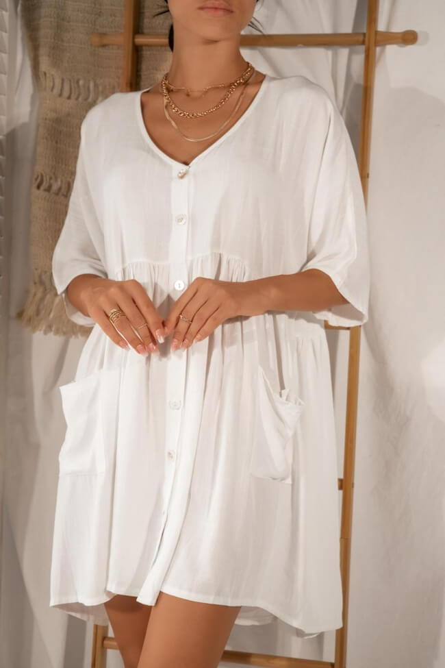Φόρεμα Εβαζέ με Κουμπιά σε Ελαφρώς Φαρδιά Γραμμή