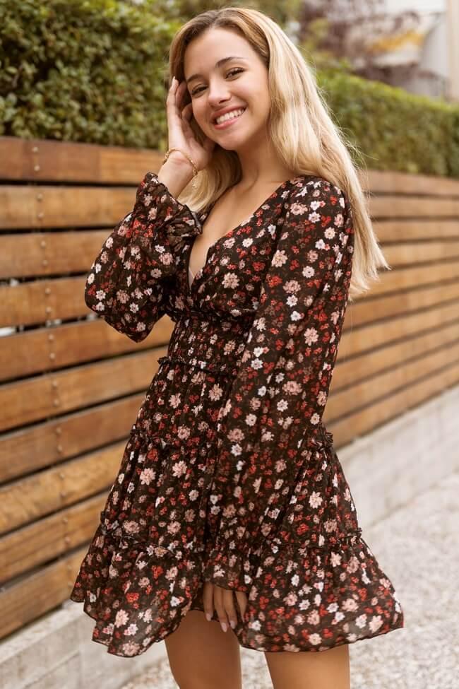 Φόρεμα Floral Κρουαζέ με Βολάν