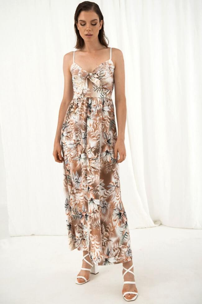 Φόρεμα Floral με Δέσιμο Μπροστά