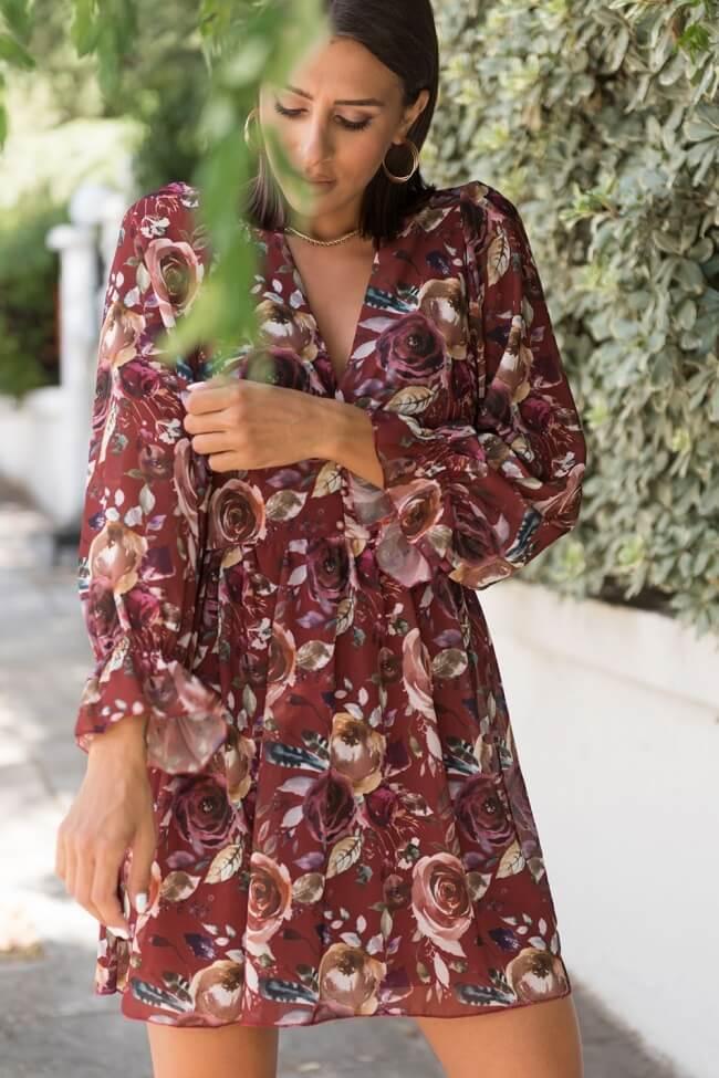 Φόρεμα Floral με Κουμπάκια