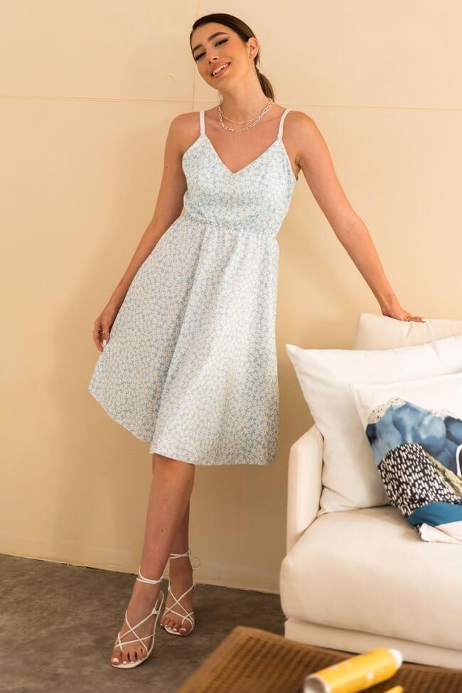 Φόρεμα Floral Midi με Δέσιμο Πίσω