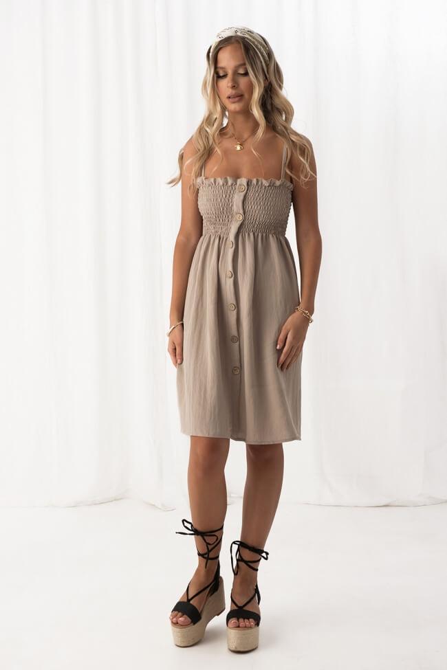 Φόρεμα Γκοφρέ με Κουμπιά