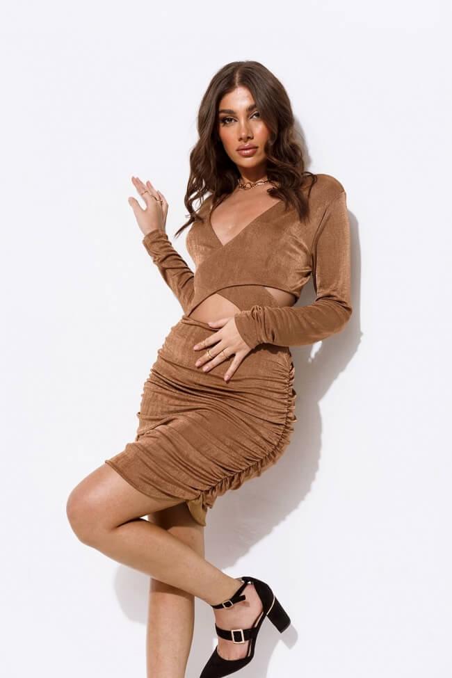 Φόρεμα High Cut με Σούρα
