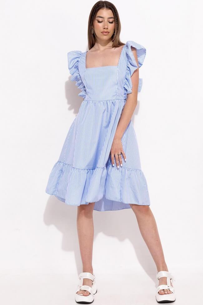 Φόρεμα Καρό με Δέσιμο στην Πλάτη και Βολάν