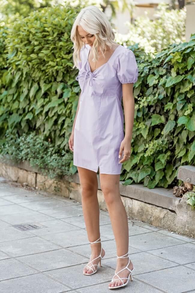 Φόρεμα Κοντό με Κορδόνι Μπροστά