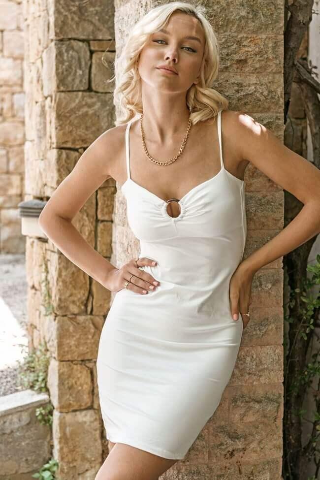 Φόρεμα Κοντό με Τόκα στο Μπούστο