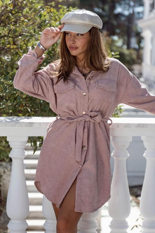 Φόρεμα Κοτλέ με Κουμπιά