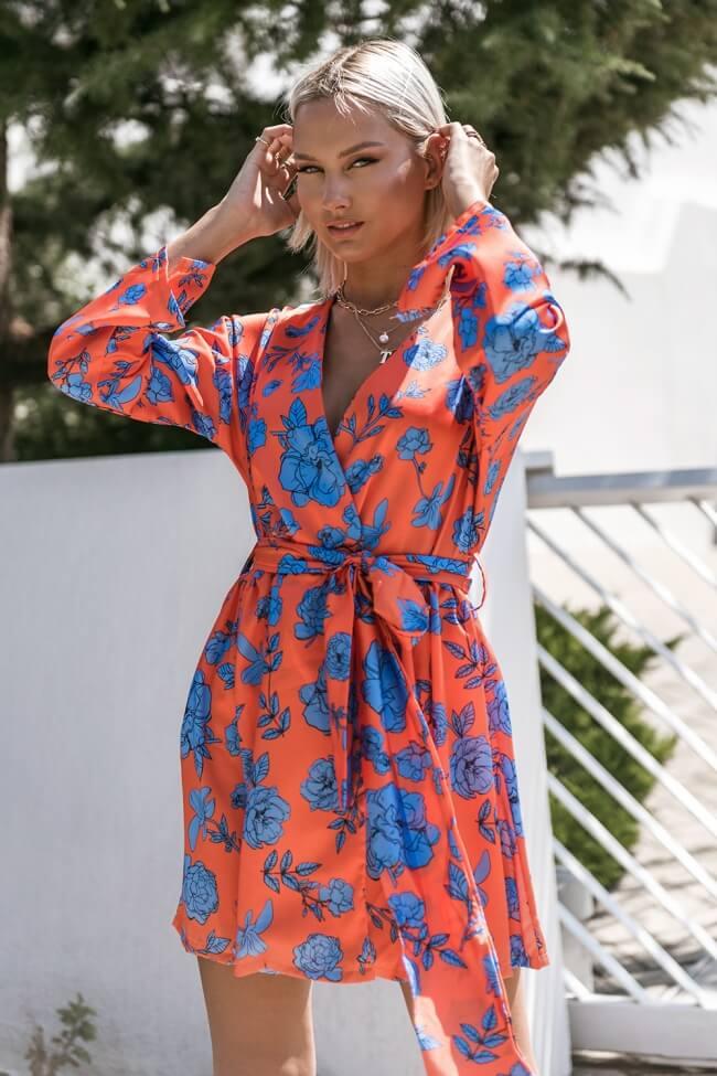 Φόρεμα Κρουαζέ Floral με Ζωνάκι
