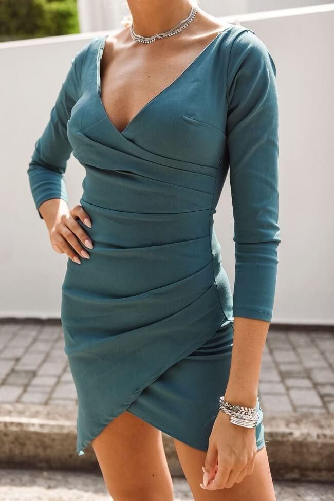 Φόρεμα Κρουαζέ με Διαγώνιες Πιέτες