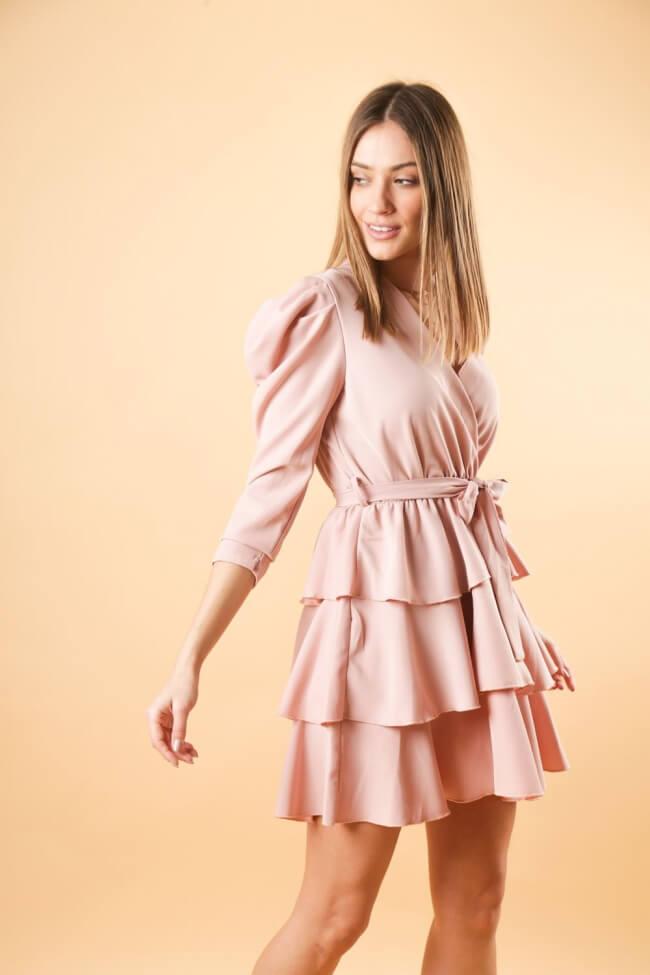 Φόρεμα Κρουαζέ με Βολάν & Ζωνάκι