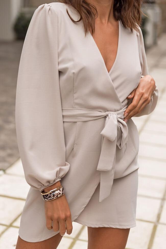 Φόρεμα Κρουαζέ με Ζωνάκι και Λάστιχο στα Μανίκια