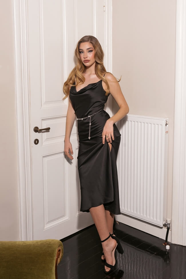 Φόρεμα Lingerie Maxi Ντραπέ