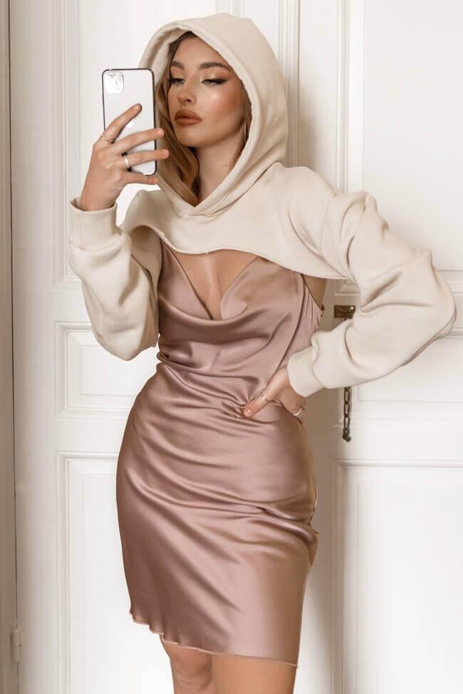 Φόρεμα Lingerie Mini Ντραπέ