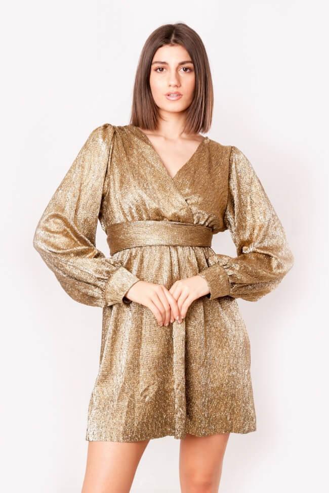 Φόρεμα Lurex Κρουαζέ με Ζωνάκι