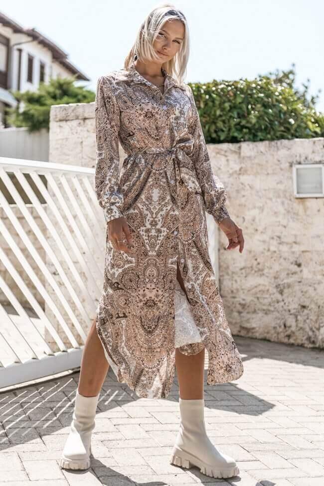 Φόρεμα Μακρύ Λαχούρ με Κουμπιά και Ζωνάκι