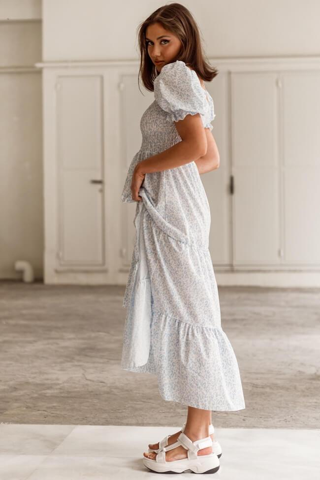 Φόρεμα Μακρύ με Σφηκοφωλιά Σκιίσιμο Εμπρός σε Animal Print
