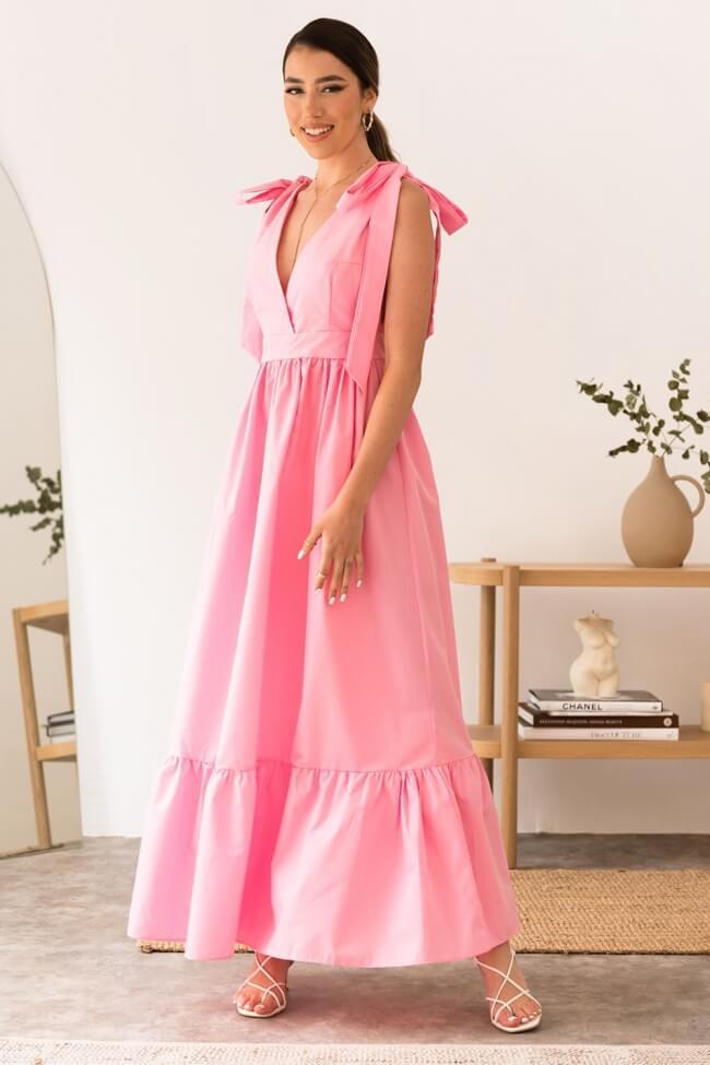 Φόρεμα Μακρύ με Βολάν και Δέσιμο στα Μανίκια