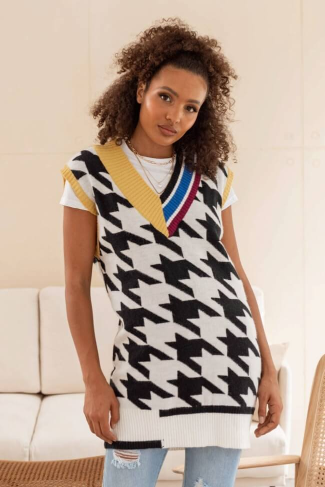 Φόρεμα Μάλλινο Αμάνικο Pied de poule