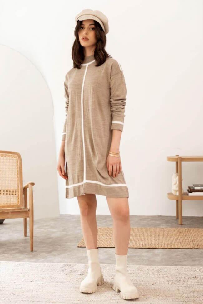 Φόρεμα Μάλλινο με Ρίγα