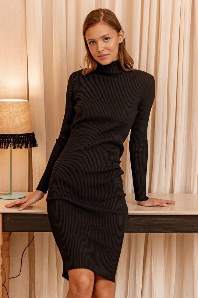 Φόρεμα Μάλλινο Ζιβάγκο Ριπ με Σκίσιμο
