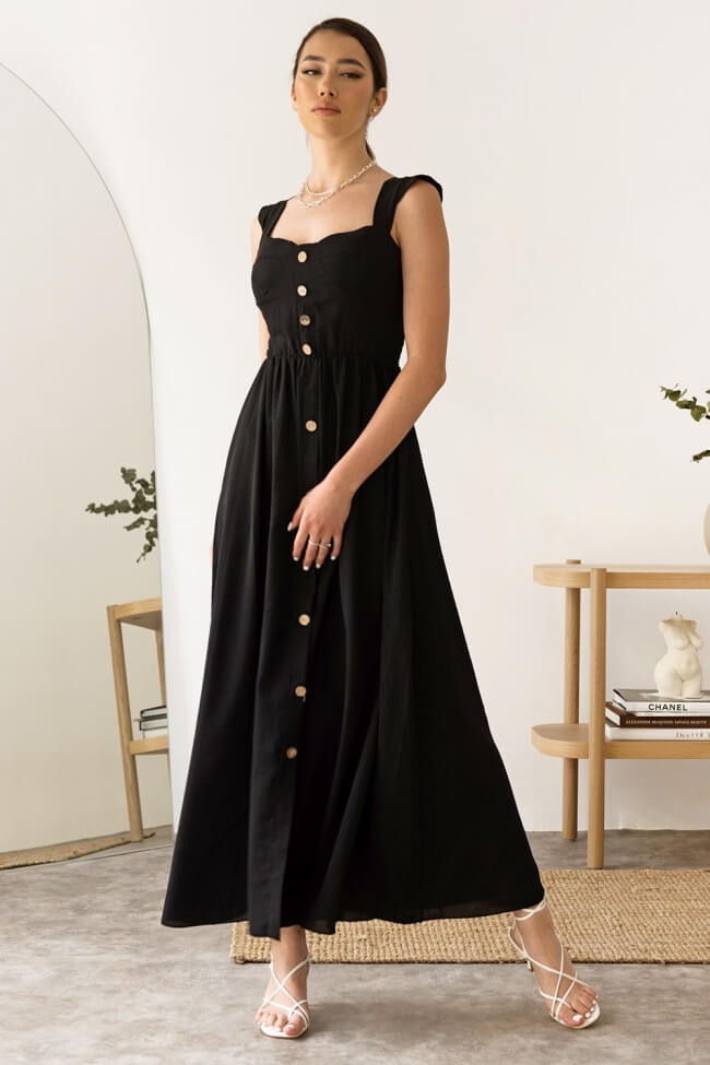 Φόρεμα Maxi με Ενίσχυση και Διακοσμητικά Κουμπιά