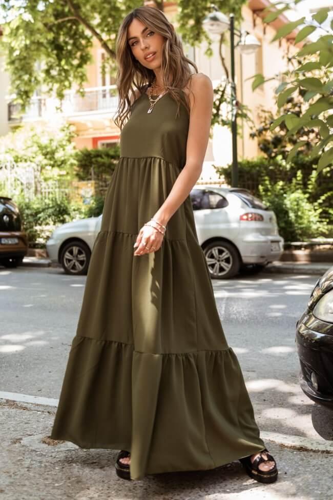 Φόρεμα Maxi με Λεπτή Τιράντα
