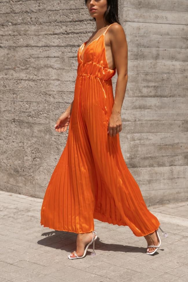 Φόρεμα Maxi Σατέν Πλισέ
