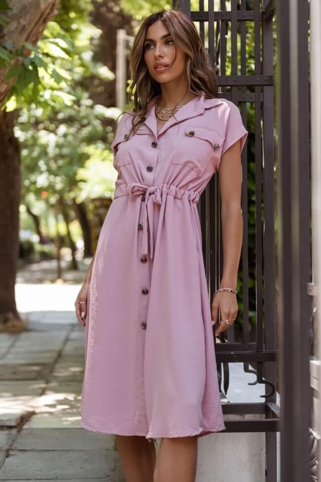 Φόρεμα με Μεταλλικά Κουμπιά