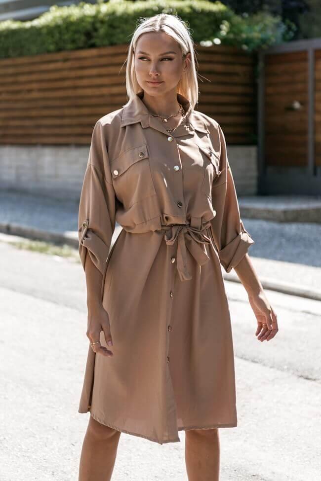 Φόρεμα με Μεταλλικά Κουμπιά και Ζωνάκι