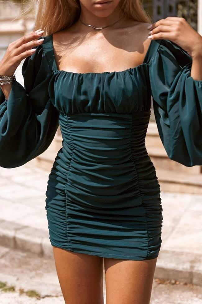 Φόρεμα με Σούρα & Balloon Μανίκια