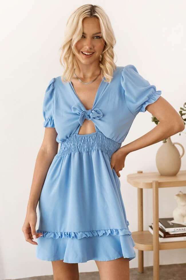 Φόρεμα με Βολάν και Λάστιχο στη Μέση