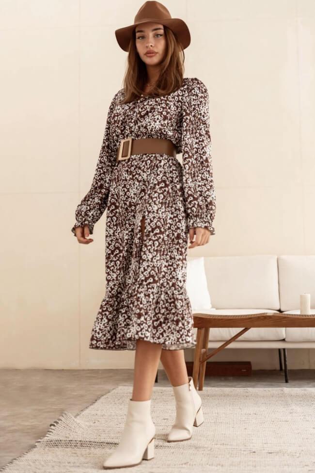 Φόρεμα με Βολάν και Σκίσιμο Κάτω