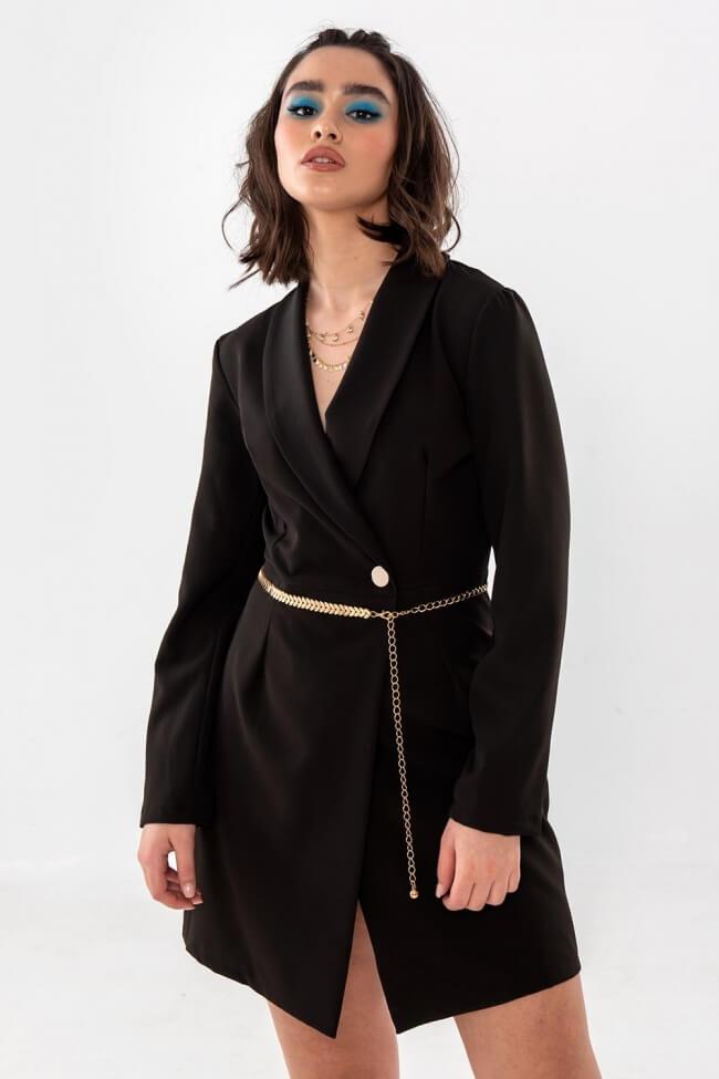 Φόρεμα με Χρυσή Μεταλλική Ζώνη