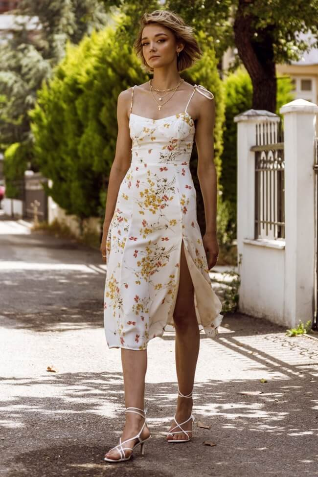 Φόρεμα Midi με Σκίσιμο Μπροστά