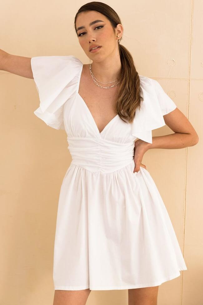 Φόρεμα Mini A-Line με Βολάν Μανίκι