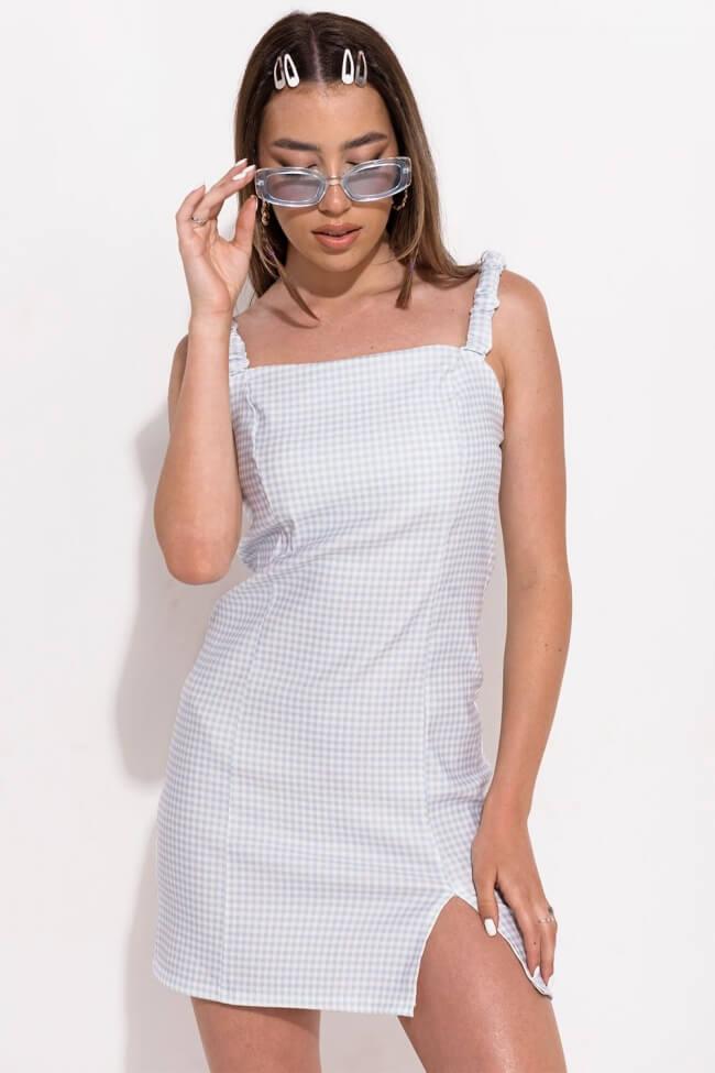 Φόρεμα Mini Καρό Ελαστικό