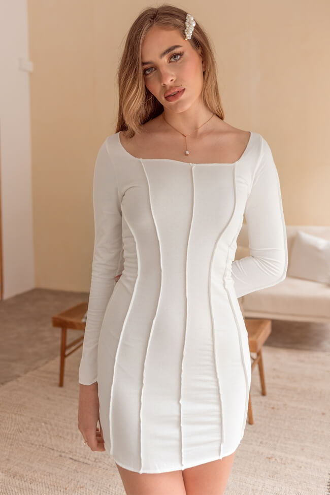 Φόρεμα Mini με Ραφές και Φερμουάρ Πίσω